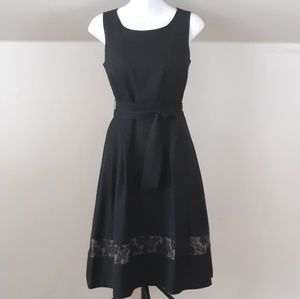Evan Picone Fit & Flare Party Dress Lace Insert